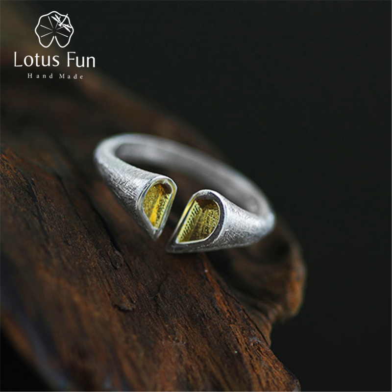 Lotus Fun Real 925 Sterling Silver Natural Handmade Creative Designer Fine Jewelry Top quality Love Heart Female Rings Bijoux