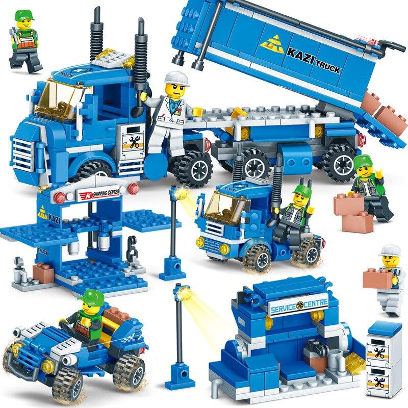 318 piezas [4 en 1] URBAN carga bloques LegoINGlys ciudad camión bloques ladrillos de juguete regalo de Navidad Building juguetes para niños