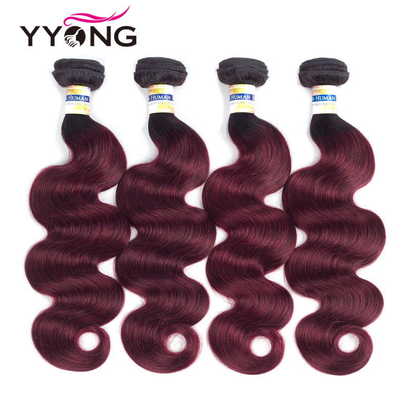 Yyong Ombre Brazilian Human Hair 4 Bundles One Pack Two Tone T1B/#99J Wine Red Brazilian Body Wave Human Hair Weave Bundles Deal