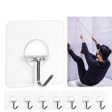 2-8pcпрозрачная прочная самоклеящаяся настенная вешалка съемный крючок для подвешивания полотенец Швабра Сумочка аксессуары для кухни и ванной комнаты