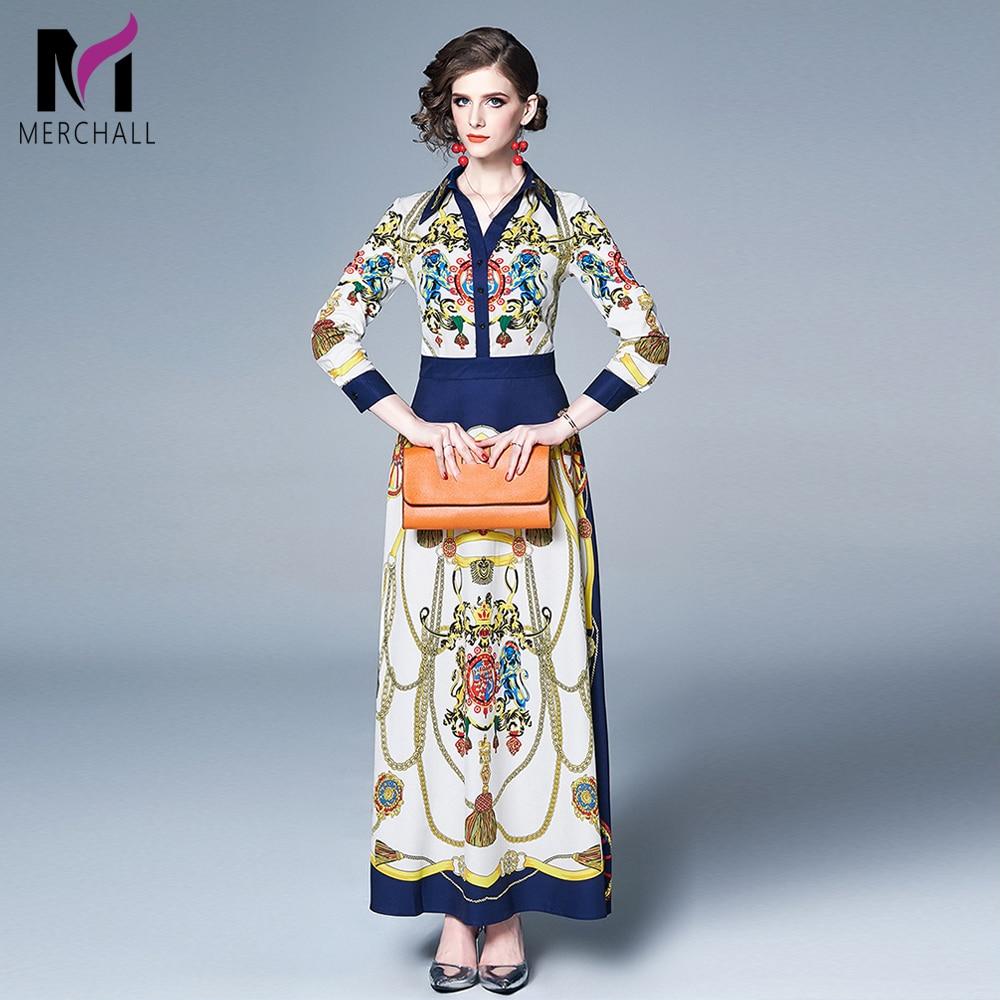 Женское плиссированное платье Merchall, Платье макси с длинным рукавом и цветочным принтом, весна 2019