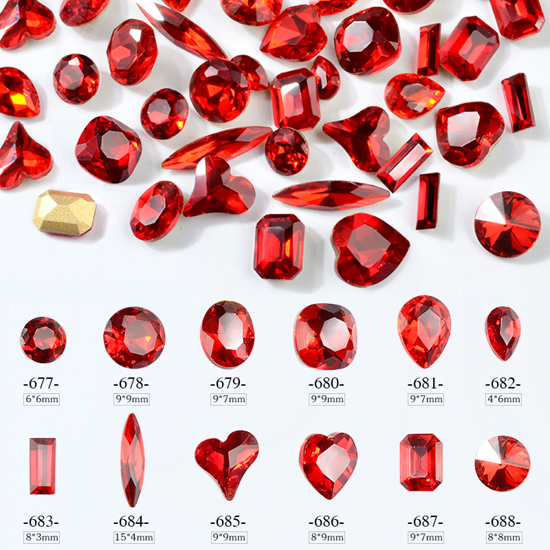 10Pcs China Red Nail Rhinestones Siam Red Crystal 3d Sharp Bottom Shiny Glass Stones Charm Gems Jewelry DIY Nail Art Decorations wakefulness ab color glass rhinestones crystal mix caviar nail art mini beads sharp bottom gemstones charms 3d nail decorations