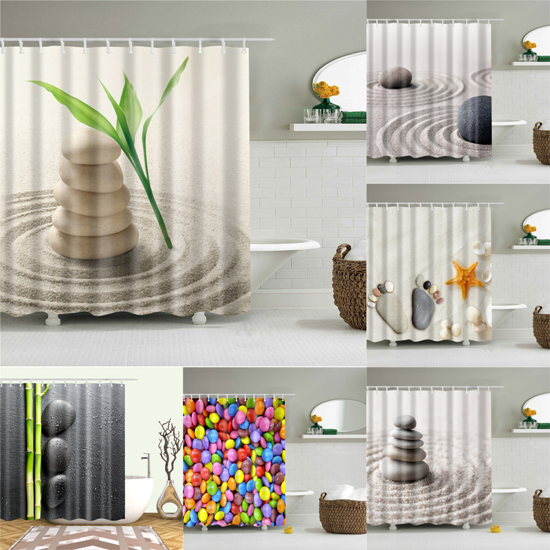 Desert Stone Shower Curtains For Bathroom HD 3D Printing Waterproof Curtains Fabric Polyester Bath Screen Home Decoration
