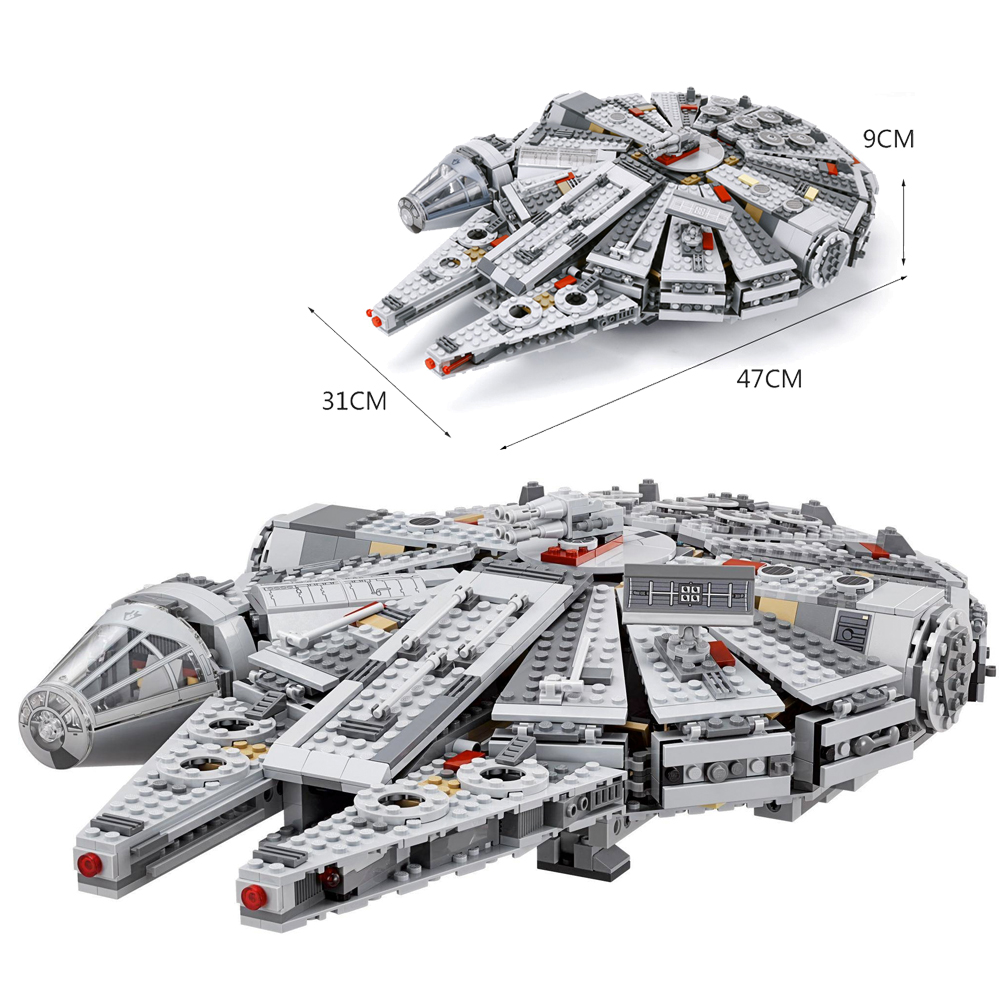 Fit Star 75105 Wars Millennium Warship Set Mini Figures 1381pcs Educational building blocks Toys for Children Force Awaken Gift image