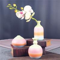 Retro Rainbow Chinese Pottery Vase 3 Pcs Set Ornamental Ceramics Flower Pitcher China Decoration Craft Embellishment Accessories