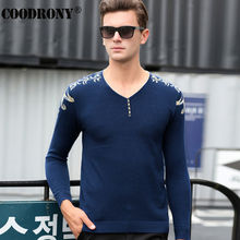 Free Shipping Autumn Winter Cashmere Sweater Men Brand Clothing Knitted Wool Sweaters Fashion Button V-Neck Pullover Homme 66215