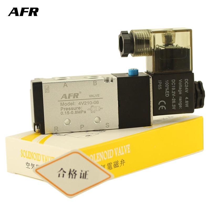 """Air Solenoid Valve 5 Way Port 2 Position Gas Pneumatic Electric Magnetic Valve 12V 24V 220V 4V210-08 port 1/4"""" Solenoid Valve"""