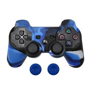 Image 2 - Capa protetora de silicone pele + vara analógica aperto para sony ps3 controlador caps capa para ps2/ps3/ps4 gamepad camuflagem