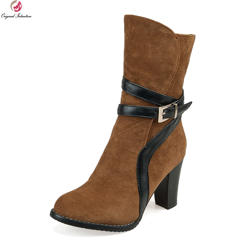 Original Intention Popular Stylish Women Mid-Calf Boots Elegant Round Toe Square Heels Boots Black Brown Red Shoes Woman цены онлайн