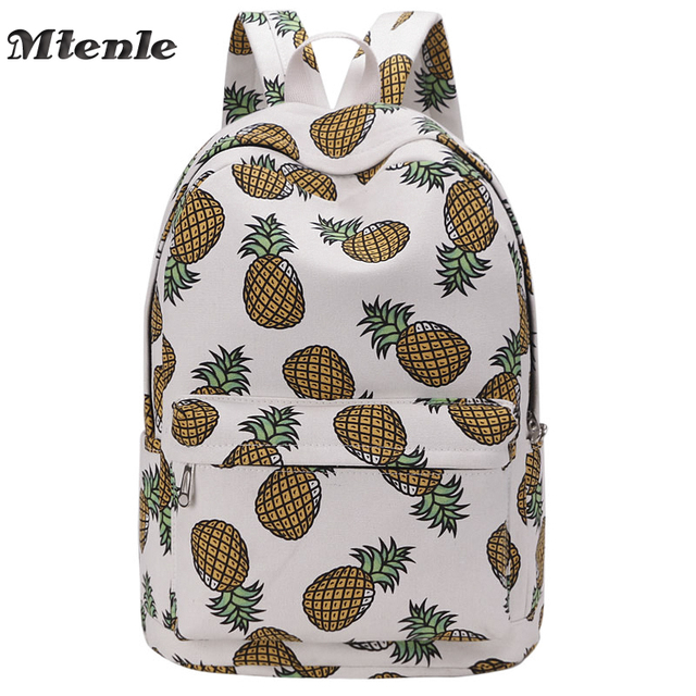 a7f19eb50 MTENLE Women Backpack For School Teenagers Girls Boys Bags Pineapple Cute  back pack Canvas Printing Backpacks Travel Mochila FI