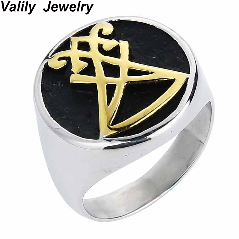 EdgLifU Mens Boys Sigil of Lucifer Stainless Steel Seal of Satan Stainless Steel Gold Black Finger Band Ring US Size 7-13 simple retro fashionable personality stainless steel couple rings silver black us size 9 7