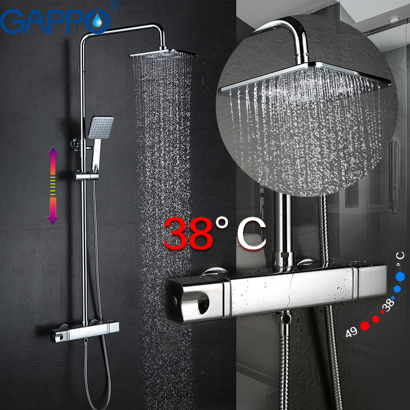 GAPPO bathroom shower thermostat faucet mixer tap wall mount mostatic shower bath mixer shower faucets taps thermostatic showers wall mounted bath shower ceramic thermostatic faucets valve bathroom shower water thermostatic control valve mixer faucet tap 55