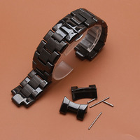 Black Ceramic Watchband with curved ends FOR aR 1410 1400 FASHION Watch BANDS strap bracelet stainless steel buckle deployment