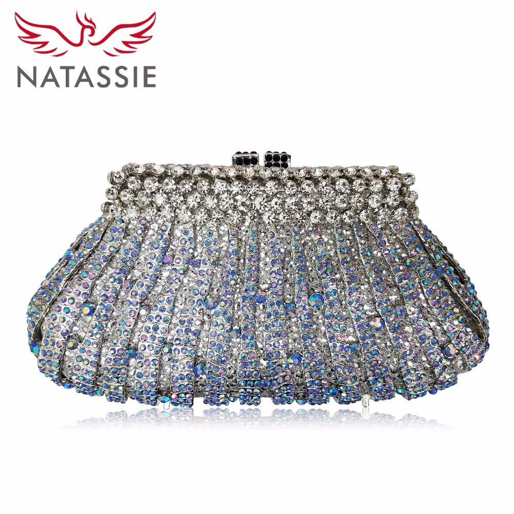 NATASSIE 2017 NEW Women Clutch Bags Ladies Sliver Evening Bag Female Crystal Party Purses Wedding Clutches natassie women evening bags ladies crystal wedding clutch bag female party clutches purses