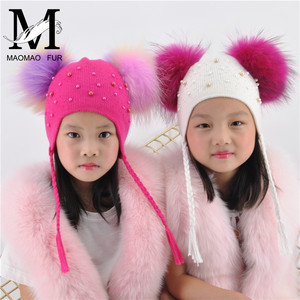 Image 3 - Kids Warm Winter Caps Double Fur Pom Pom Beanie Wool Knitted Hat For Baby Boys Girls Real Raccoon Fur Balls Beanie Cap Bonnet