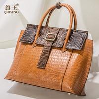 Qiwang брендовая роскошная кожаная сумка женская дизайнерская сумка тоут ИЗУМИТЕЛЬНОЕ КАЧЕСТВО натуральная кожа кожаные сумочки Женская мод