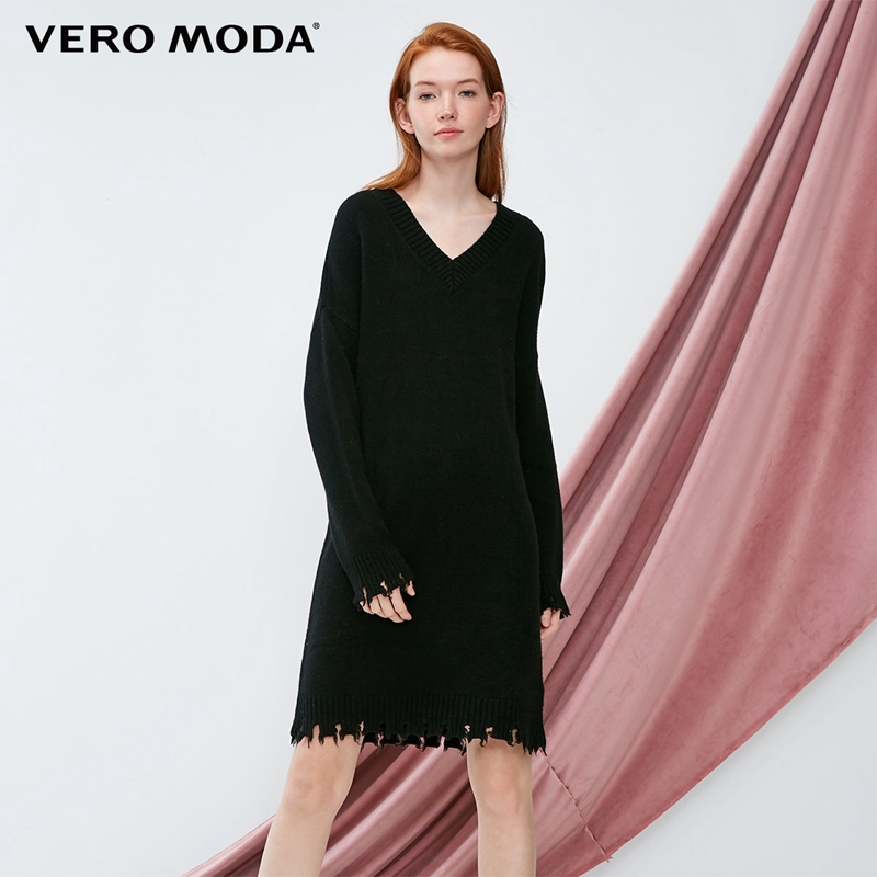 Vero Moda 2019 new style with 90 wool edging and old feel knit dress 318446507
