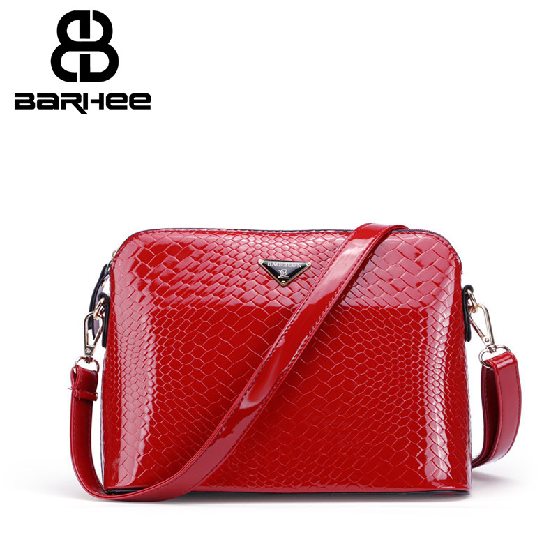 BARHEE New Fashion Alligator Messenger Bags Product Patent Leather Crocodile Pattern Shoulder Bag for Women Hot Sale Handbag Red 2016 fashion spring and summer crocodile pattern japanned leather patent leather handbag one shoulder cross body bag for women