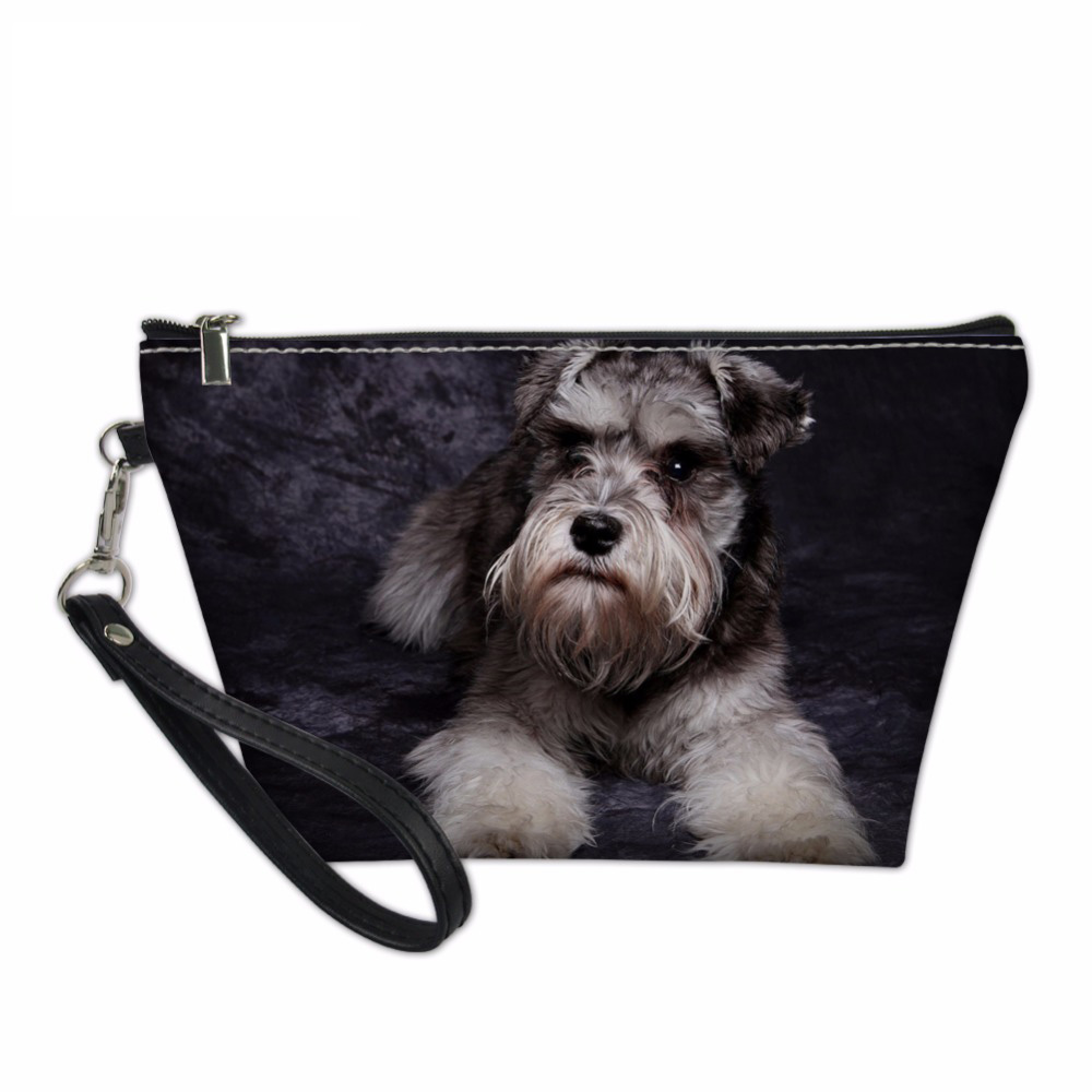 NOISYDESIGNS Makeup Bag Cute Schnauzer Pattern Organizers Bags for Women Travel Make Up Case Functional Cosmetics Toiletry Bag