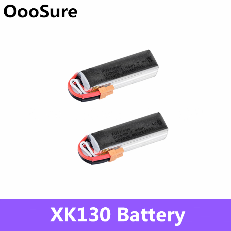 2 pcs/lot XK130 RC Helicopter Parts <font><b>7.4V</b></font> <font><b>600mAh</b></font> 25C 2S <font><b>Lipo</b></font> <font><b>Battery</b></font> With XT30 Plug For RC Drone Quadcopter RC <font><b>Battery</b></font> Parts image