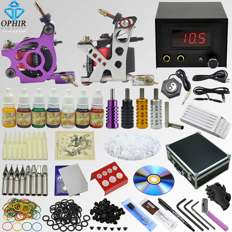 OPHIR 354pcs Complete Tattoo Kit 2 Electric Tattoo Machine Guns 7Color Ink Pigments Tattoo Supplies Needles Nozzles Grips _TA072 ophir 380pcs pro complete tattoo kit 3 tattoo machines guns 40 colors ink pigment tattoo supply power needles nozzles set ta005