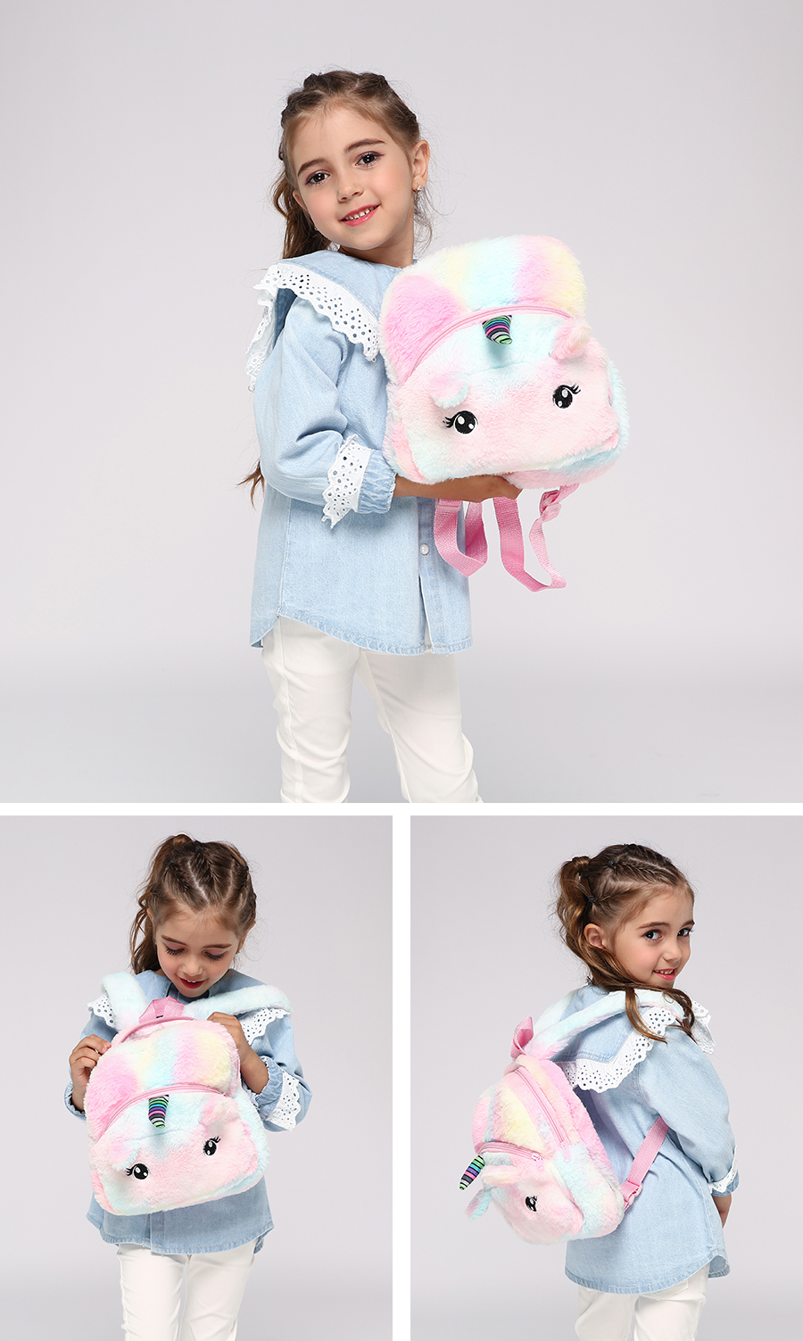 Faux Fur Unicorn Backpack