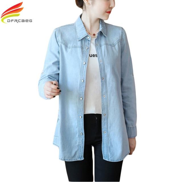 4c9ae057233 2018 Autumn Fashion Long Denim Shirt Women Plus Size Loose Pockets Blouses  Long Sleeve Blusa Jeans