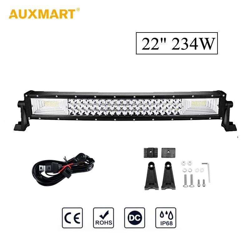 цена на Auxmart 3 Row 22 inch 234W Curved LED Light Bar 108pcs LED Chips Work Light Lamp IP86 Waterproof Combo Spot Flood Beam 12V 24V