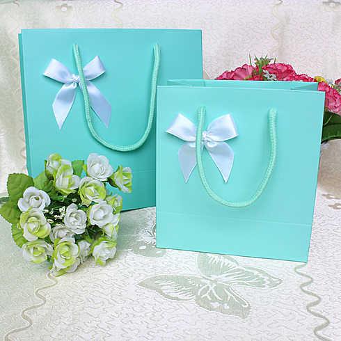 Tiffany Blue With White Ribbon Diy Gift Bags Wedding Favor Bag