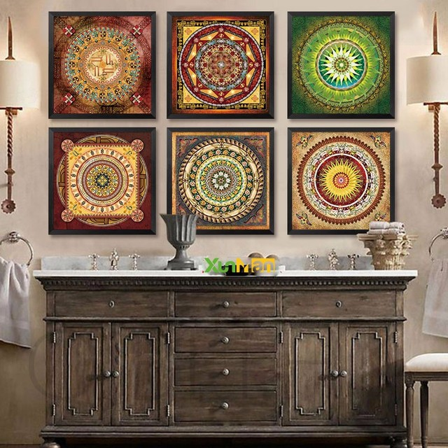 NEW Bohemian Style Flower Mandala Canvas Paintings Artwork Posters Wall Picture Series Modern Home
