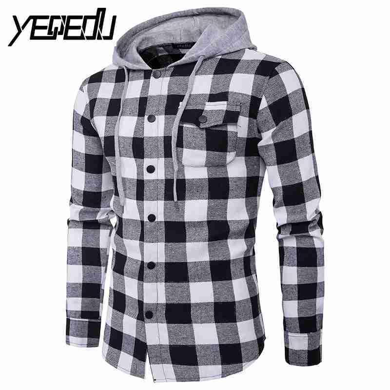 #4713 Primavera/autunno Camicie Da Uomo 2018 Casual Camicia Di Plaid Degli Uomini Con Cappuccio Decorazione Della Tasca Chemise Homme Camisas Masculina
