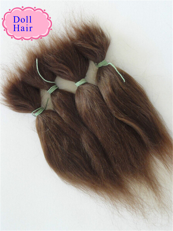 100% Pure Mohair Reborn Baby Doll Hair With Dark Brown/Gold Color Fit For DIY Reborn Baby Doll Wig Easy To Wash And Root