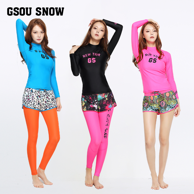 ФОТО Gsou snow diving suit Ms. long sleeved clothing sunscreen clothing swimsuit snorkeling jellyfish