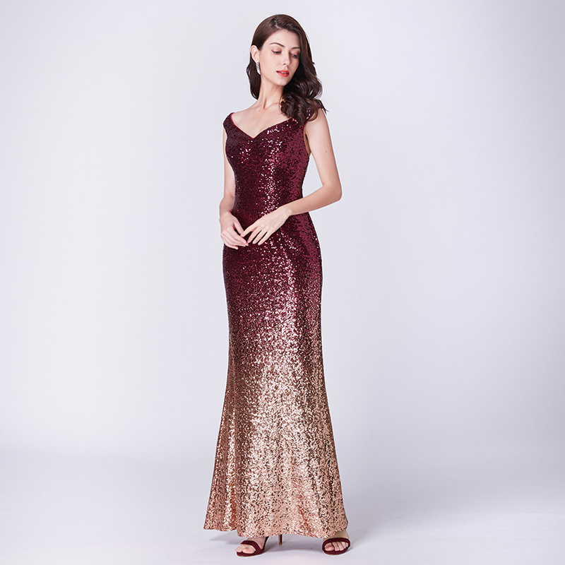 Women`s Elegant   Prom     Dresses   Long Sparkle 2018 Autumn New V-Neck Sequined Mermaid Maxi Formal Party Gowns Ladies Abendkleider