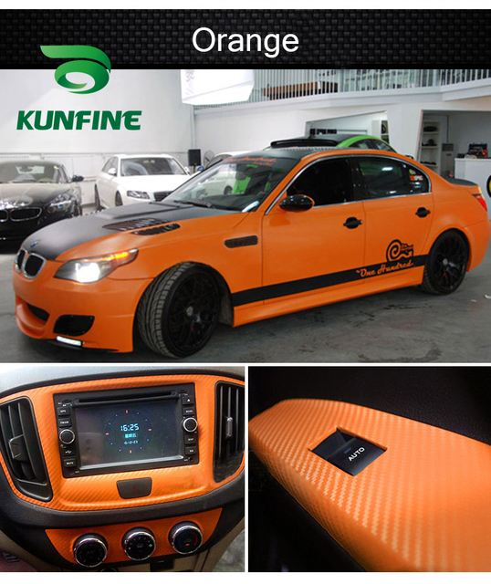 KUNFINE 3D Carbon Fiber Vinyl Car Wrap Car stickers and Decals Motorcycle Car Styling Accessories Waterproof 3