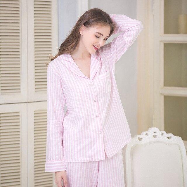 70d9d55b10336 Ensemble de pyjamas en coton à bouton pour femmes, deux pièces, à manches  longues
