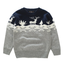 Boys Sweaters Knitting Pattern Casual Boys Pullovers Spring Autumn Winter Kids Boys Clothing for Thick Christmas Deer Snow 3-8T
