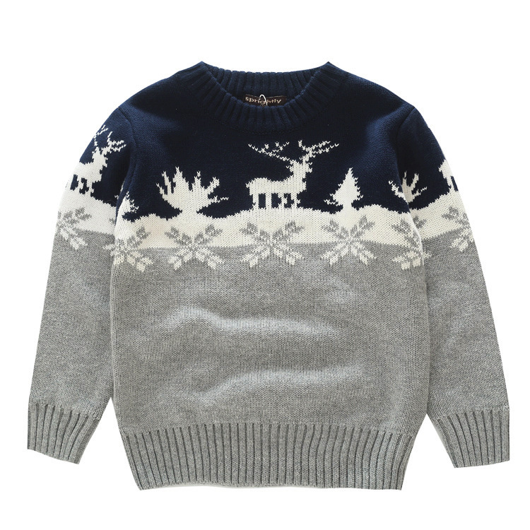 Niños suéteres patrón de punto casual suéteres primavera Otoño Invierno niños ropa para gruesa Navidad Deer nieve 3- 8 t