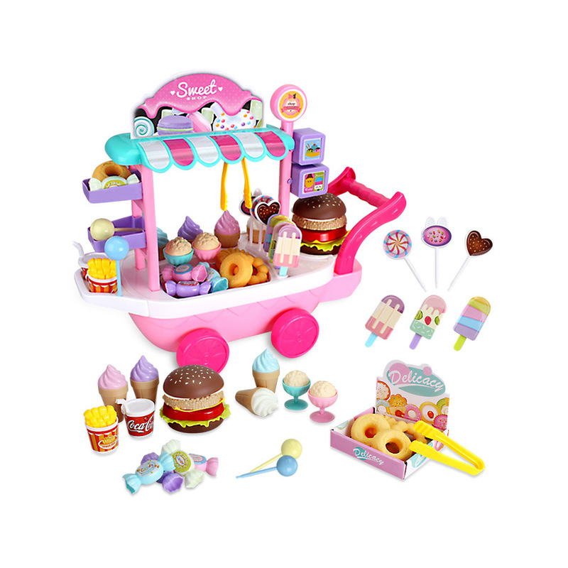 Pretend Play Kitchen Toys For Children Oyuncak Mini Ice Cream Candy Cart House Car Rotatable Toy For Girl 2-10 Years Old