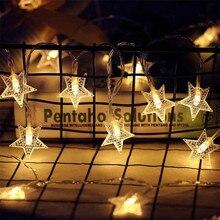 Светодиодный светильник-гирлянда на 1,2 м, 3 м, 6 м, 10 м, декоративный Сказочный светильник на батарейках, светильник в виде звезды из медной проволоки для помещений, Рождества, свадьбы