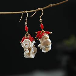 Amxiu ручной работы серьги Природные формы жемчуг серьги 925 пробы серебро море бамбука Коралловые украшения для Для женщин серьги