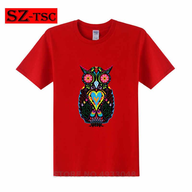 デッドフクロウ Tシャツかわいい赤デッドシュガースカルフクロウプリント Tシャツの男性の服夏通気性 Tシャツ tシャツ
