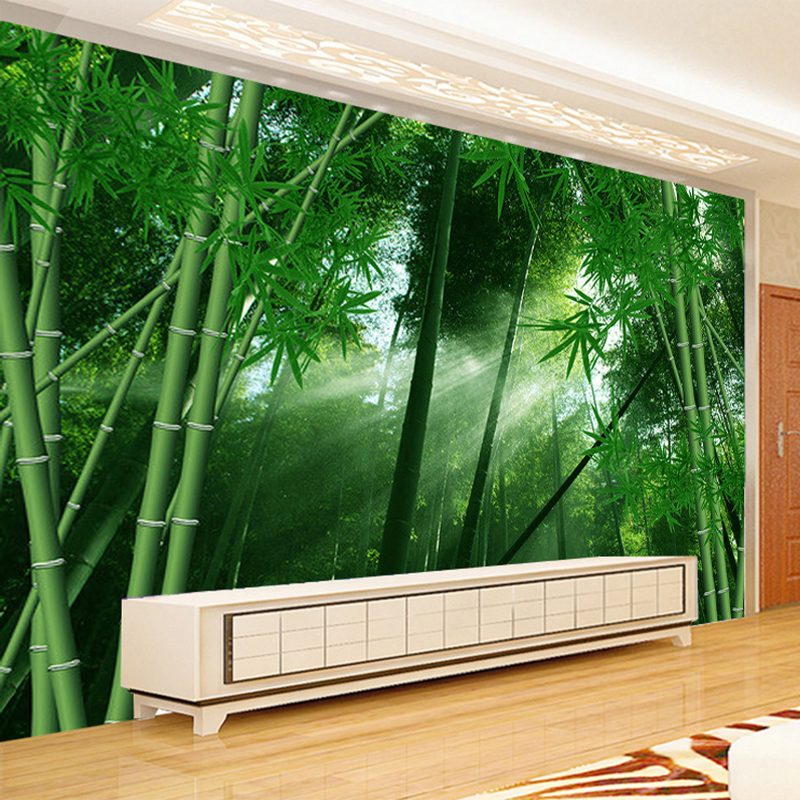 Custom Photo Wall Paper 3D Green Bamboo Forest Landscape Non-woven Straw Textured Wallpaper Home Decor Wall Painting Living Room nature plain green brown bamboo straw textured wallpaper roll for bedroom living room decorative paper wall striped wall paper