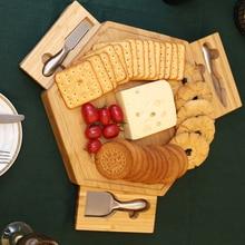 Натуральная бамбуковая доска для сыра набор ножей, столовые приборы с выдвижной ящик деревянная тарелка 3-мя небольшими лезвия из нержавеющей стали набор инструментов для сыра HW090