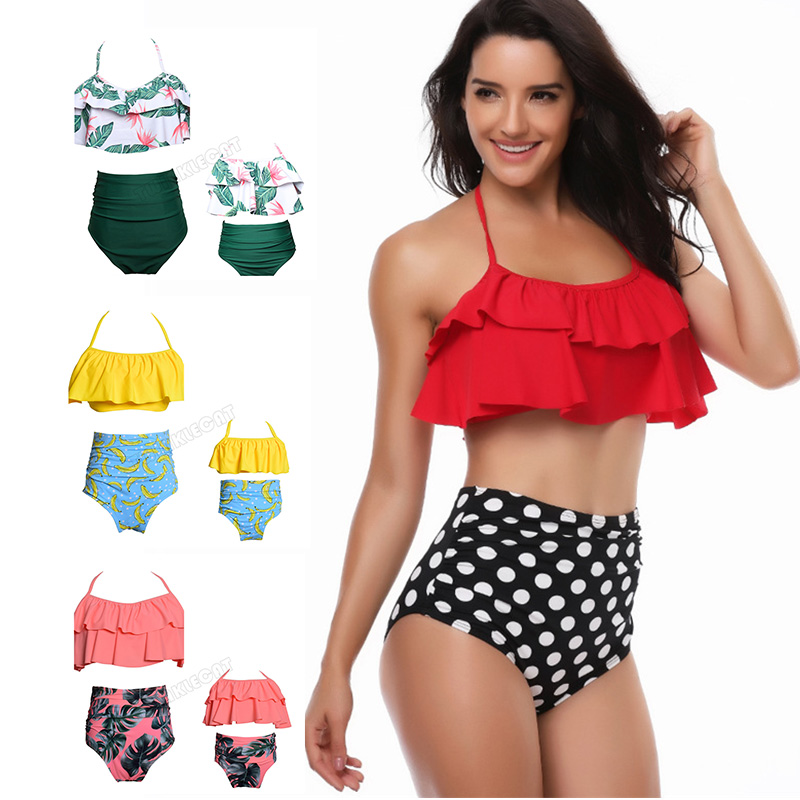2018 Mother And Daughter Bikini Clothes Family Matching Outfit Swimwear Mother Kids Family Look Mom And Daughter Swimsuit Women