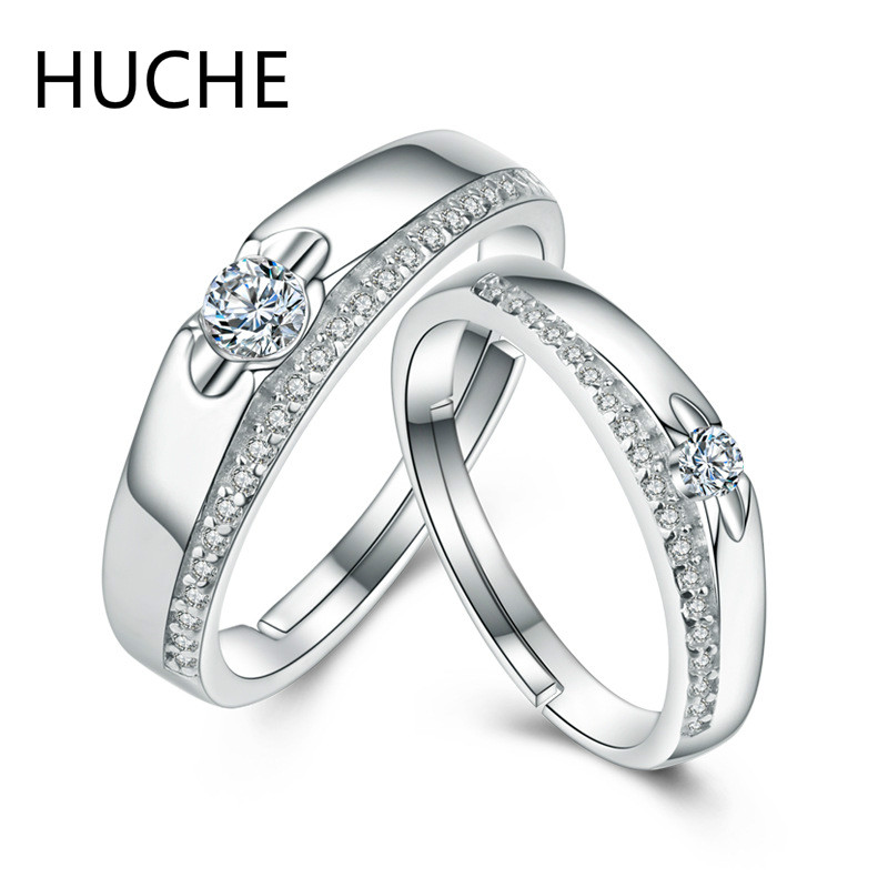 HUCHE Sterling-Silver-Jewelry 925 Sterling Silver Couple Rings for Women Men Cubic Zirconia Wedding Engagement Ring set ZI066 luxury brand design 925 sterling silver jewelry for women wedding love couple ring white gold color promise engagement rings