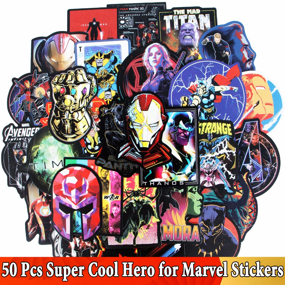 50 Pcs/Lot JDM Super Hero Stickers For Marvel For Avengers Graffiti Sticker For Luggage Laptop Skateboard Moto Guitar DIY Toys