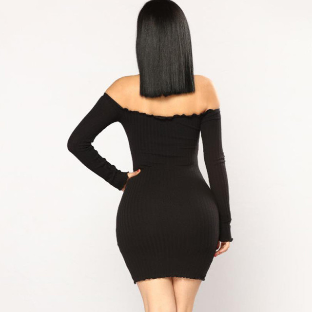 Autumn Solid Women Sheath Dress Off Shoulder Sexy Buttons Kyliejenner Dress Women Long Sleeve Single-breasted Dress cwd0187-5 5