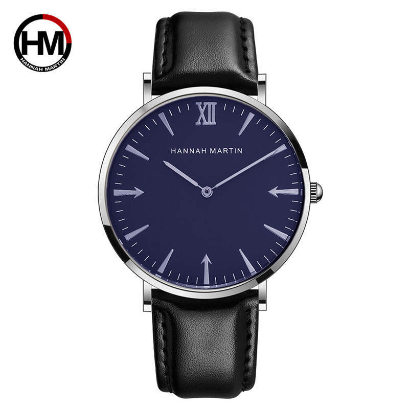 Hannah Martin Men Watch Quality Waterproof Quartz Male Clock Watchband Leather Wish Gift Fashion Men's Wrist Watches Brands