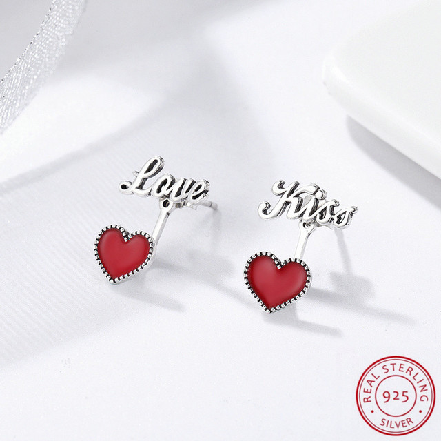 Korean Style Women's Fashion Jewelry Accessories 925 Sterling Silver Earrings ,Romantic Charming Red Heart Love& Kiss